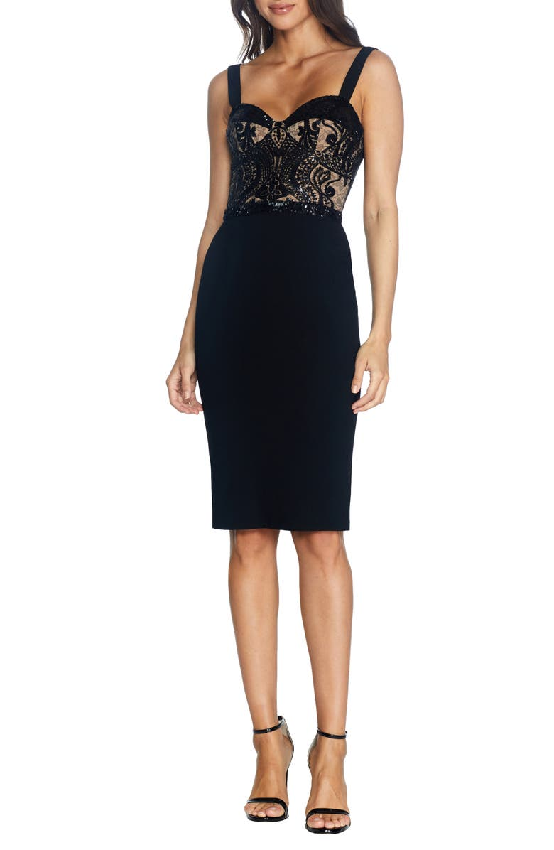DRESS THE POPULATION Silvia Bustier Cocktail Dress, Main, color, 004