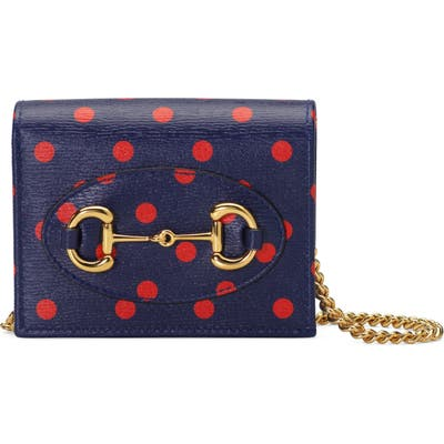 Gucci 1955 Horsebit Polka Dot Leather Wallet On A Chain - Blue
