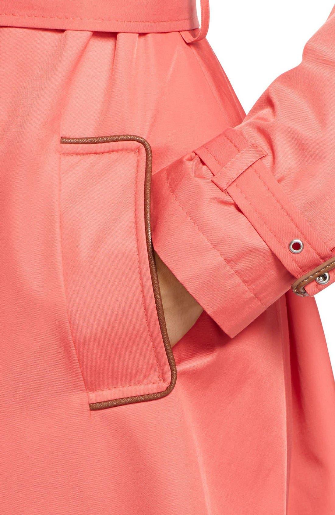 ,                             Faux Leather Trim Trench Coat,                             Alternate thumbnail 51, color,                             650