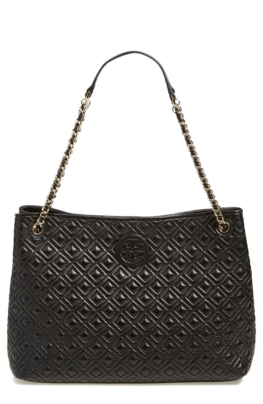 ,                             'Marion' Diamond Quilted Leather Tote,                             Main thumbnail 1, color,                             001