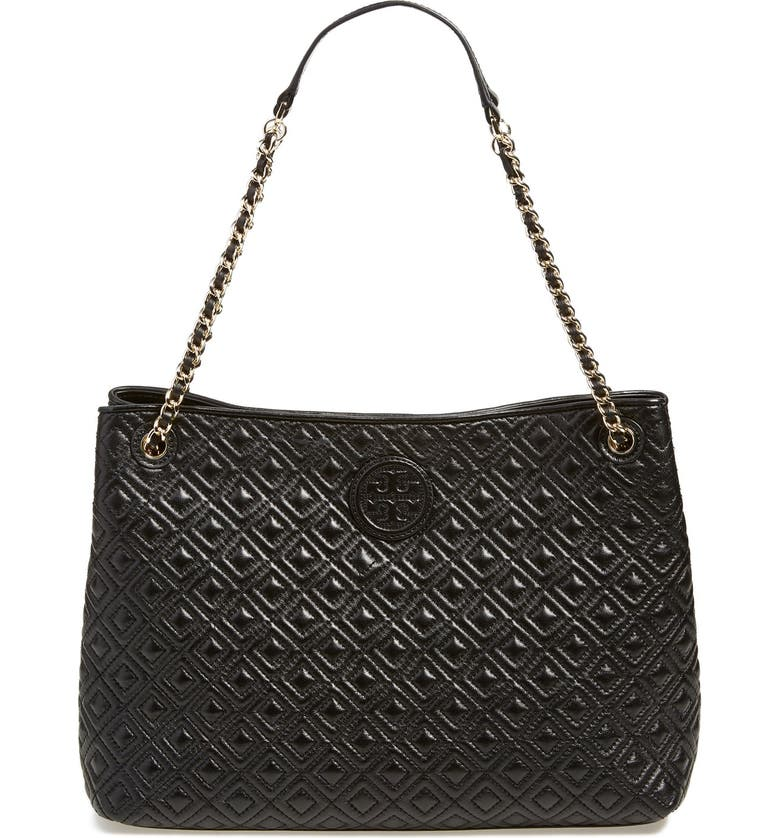 TORY BURCH 'Marion' Diamond Quilted Leather Tote, Main, color, Black