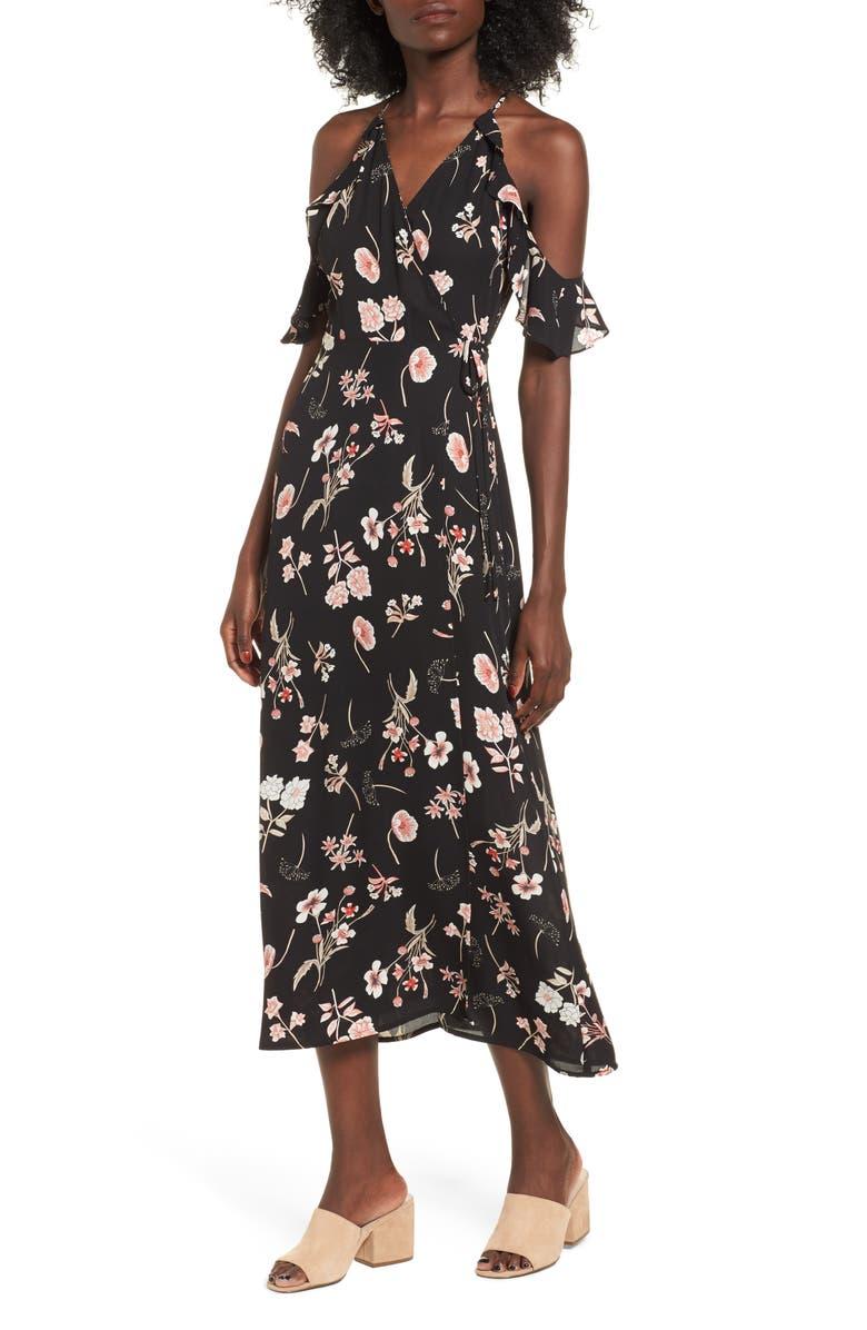--- Floral Cold Shoulder Midi Dress, Main, color, 001