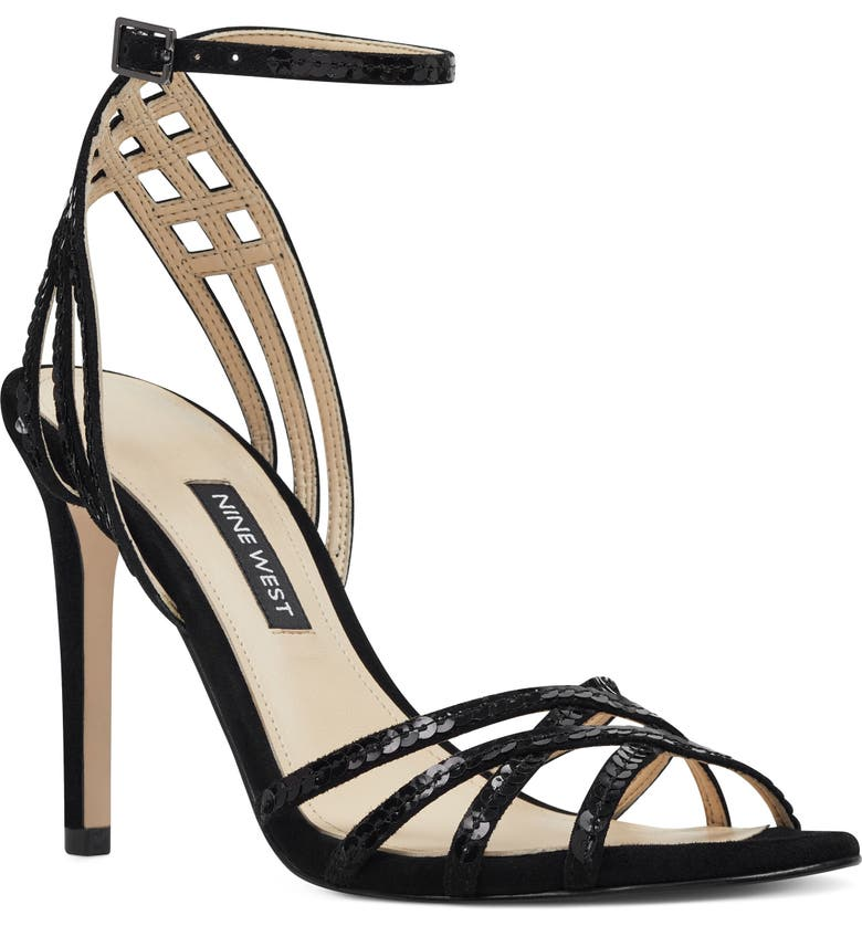 NINE WEST Ivonne Ankle Strap Sandal, Main, color, BLACK SUEDE