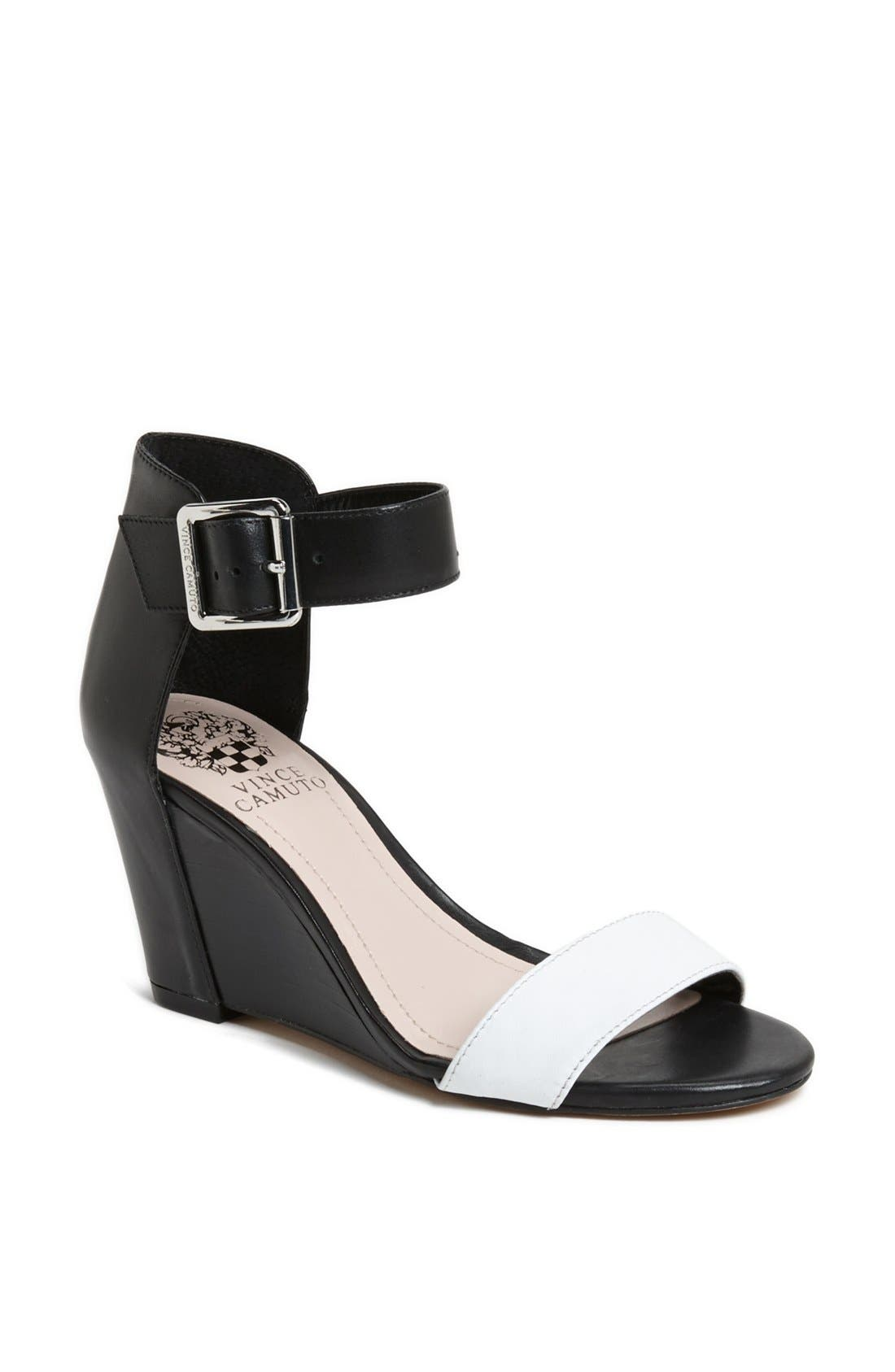 'Luciah' Ankle Strap Wedge Sandal, Main, color, 002