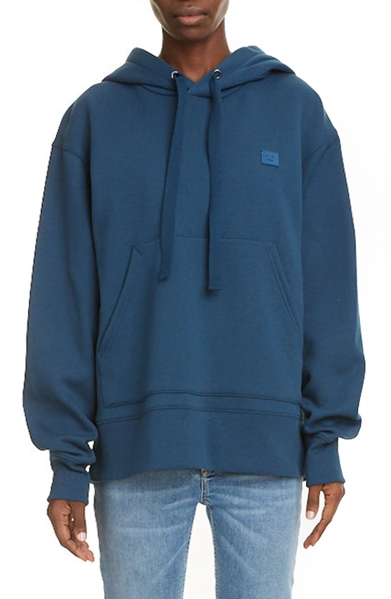 ACNE STUDIOS Ferris Face Unisex Hoodie, Main, color, MIDNIGHT BLUE