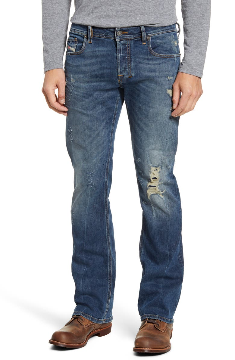 DIESEL<SUP>®</SUP> Zatiny Bootcut Jeans, Main, color, DISTRESSED