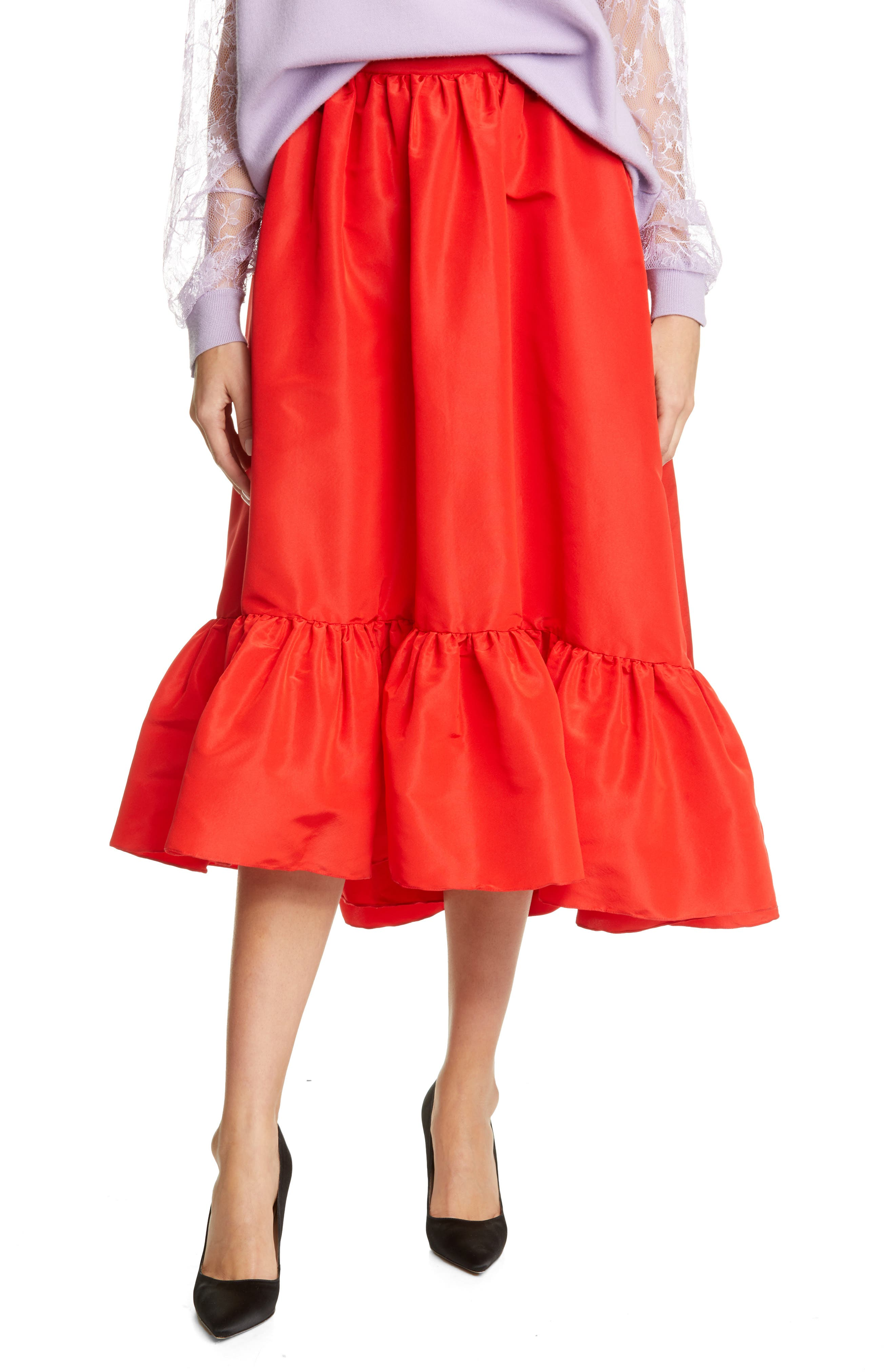 Adam Lippes wanted his latest collection to have \\\'joy, fun, and color\\\' and this silk-faille skirt with a high/low ruffled hem checks everything on that list. Style Name: Adam Lippes Ruffle Hem Silk Faille Midi Skirt. Style Number: 6005835. Available in stores.