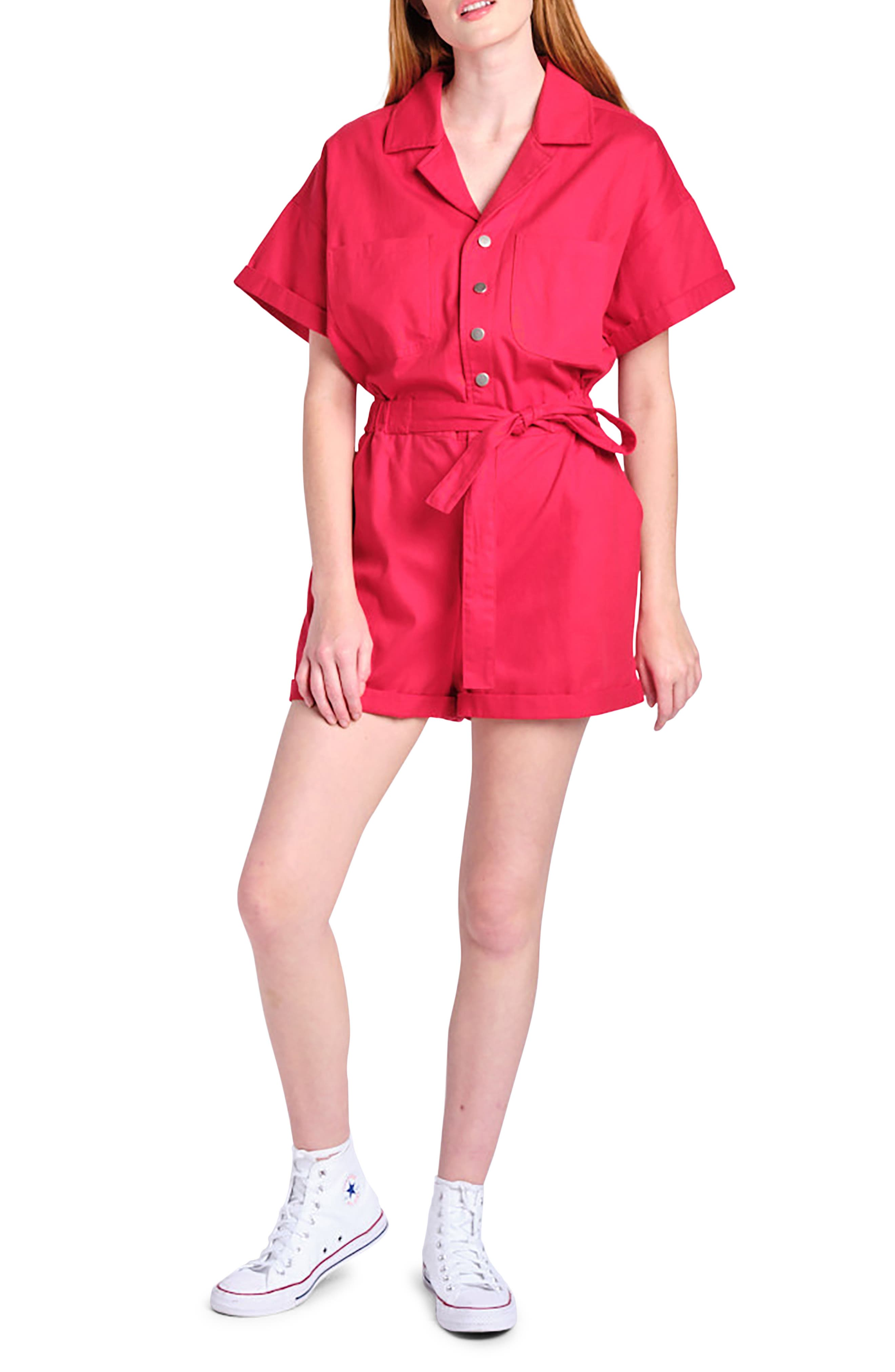 70s Workout Clothes | 80s Tracksuits, Running Shorts, Leotards Womens En Saison Cotton Utility Romper Size X-Small - Red $88.00 AT vintagedancer.com