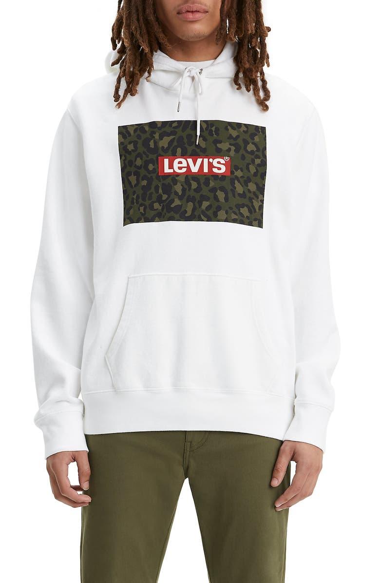 LEVI'S<SUP>®</SUP> Camo Logo Graphic Hoodie, Main, color, WHITE