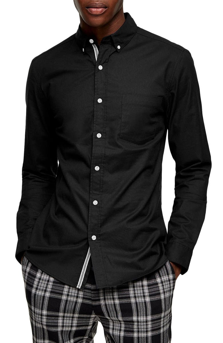 TOPMAN Skinny Fit Stretch Button-Down Oxford Shirt, Main, color, BLACK