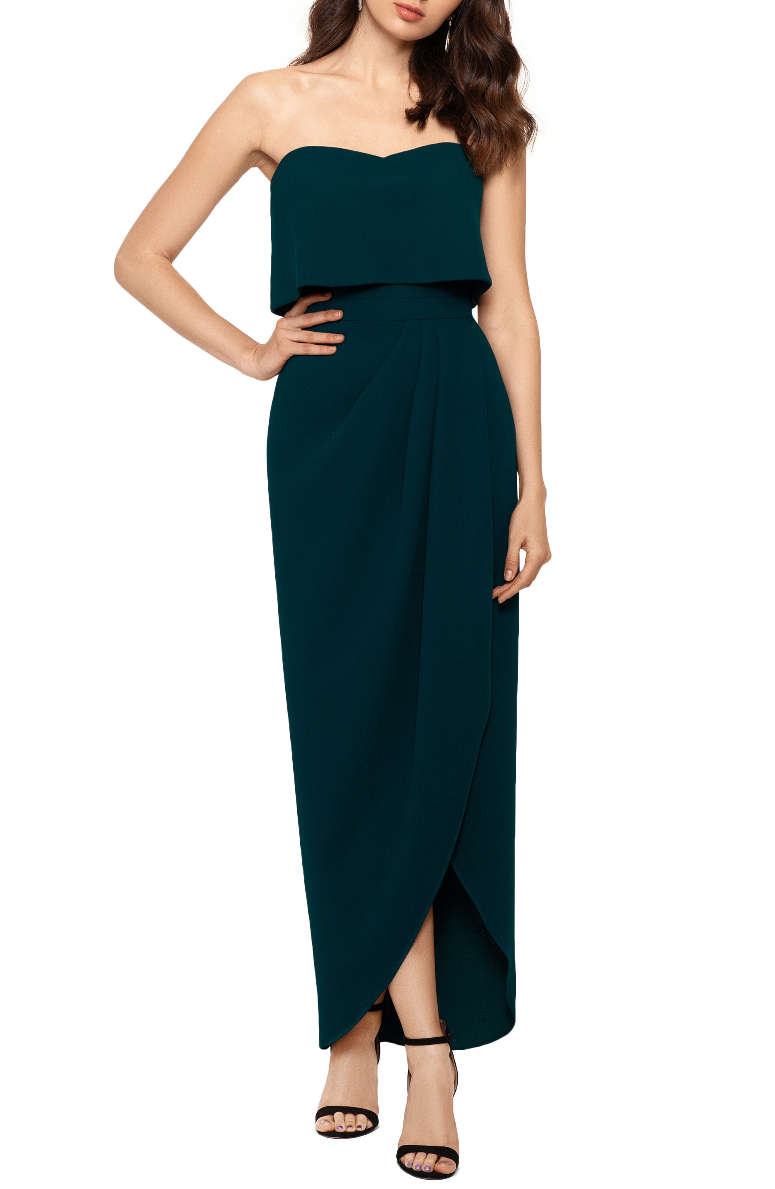 Shape-retaining scuba crepe crafts a simple, elegant gown with a strapless popover bodice and a full-length tulip-hem skirt. Style Name: Xscape Strapless Popover Scuba Crepe Gown. Style Number: 5935417. Available in stores.