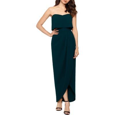 Xscape Strapless Popover Scuba Crepe Gown, Green