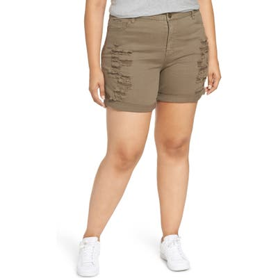 Plus Size Tinsel Ripped Bermuda Shorts, Green