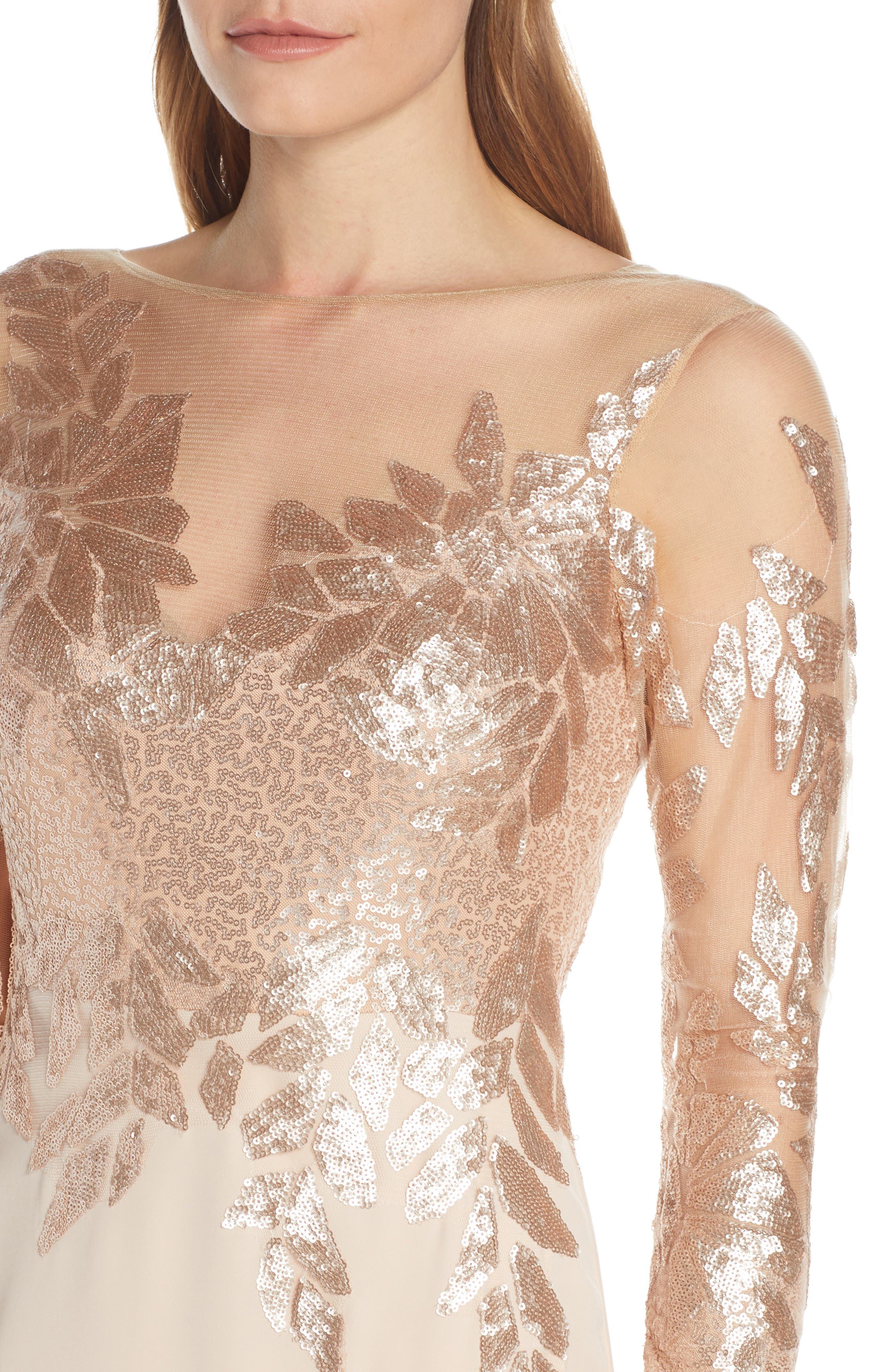 ,                             Sequin Embellished Gown,                             Alternate thumbnail 5, color,                             CHAMPAGNE