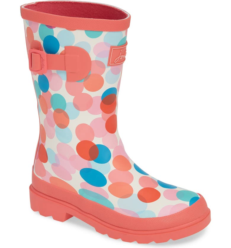 JOULES Mid Height Print Welly Rain Boot, Main, color, CREAM FAIRY DITSY