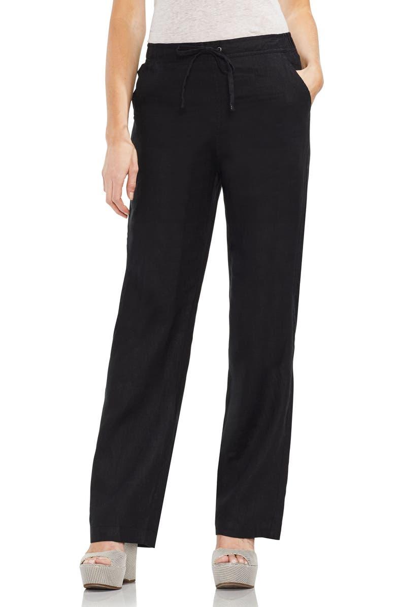VINCE CAMUTO Wide Leg Linen Pants, Main, color, RICH BLACK