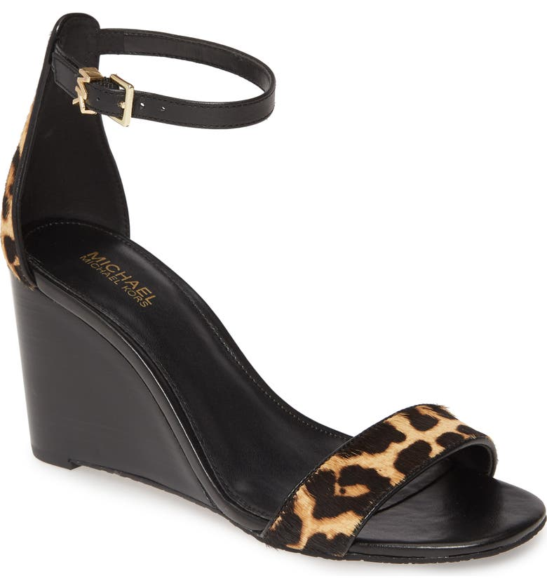 MICHAEL MICHAEL KORS Fiona Wedge Sandal, Main, color, CHEETAH PRINT CALF HAIR