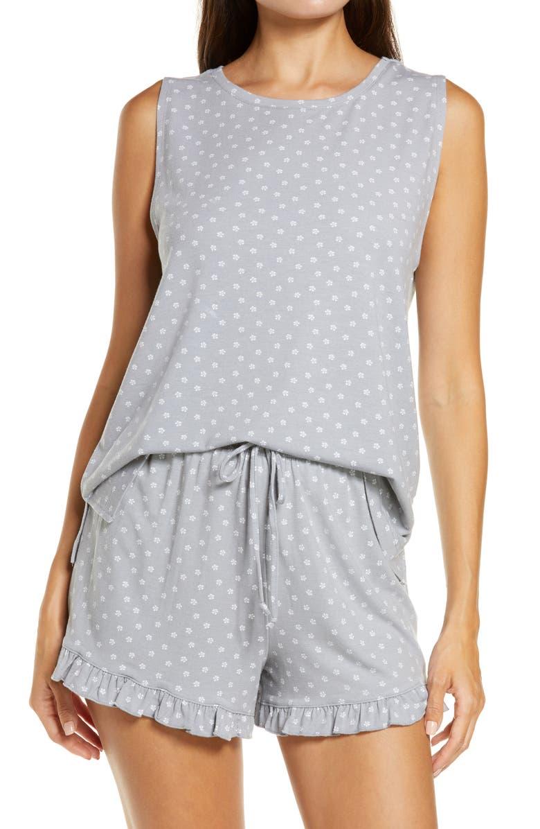 BP. Nori Shorts Pajamas, Main, color, GREY SLEET MINI MOTIF