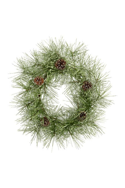 """Image of NEARLY NATURAL 24"""" Iced Pine & Pinecones Artificial Wreath"""