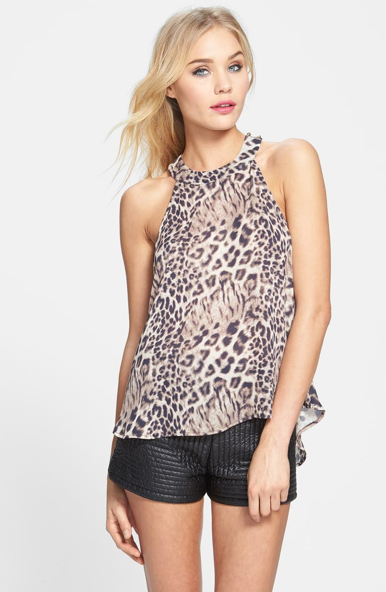 ASTR THE LABEL ASTR Animal Print T-Strap Tank, Main, color, 020