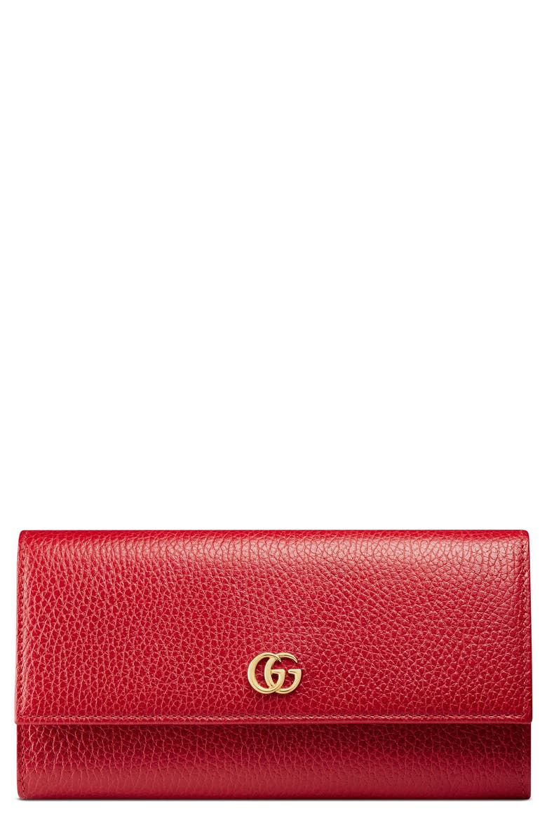 GUCCI Petite Marmont Leather Continental Wallet, Main, color, HIBISCUS RED