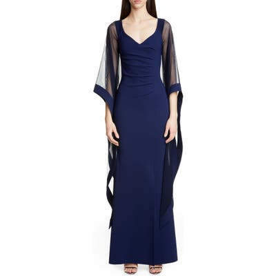 Chiara Boni La Petite Robe Melitea Draped Sleeve Evening Gown, US / 46 IT - Blue