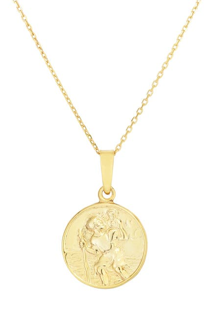 Image of Sphera Milano 14K Yellow Gold Plated Sterling Silver Religious Coin Pendant Necklace