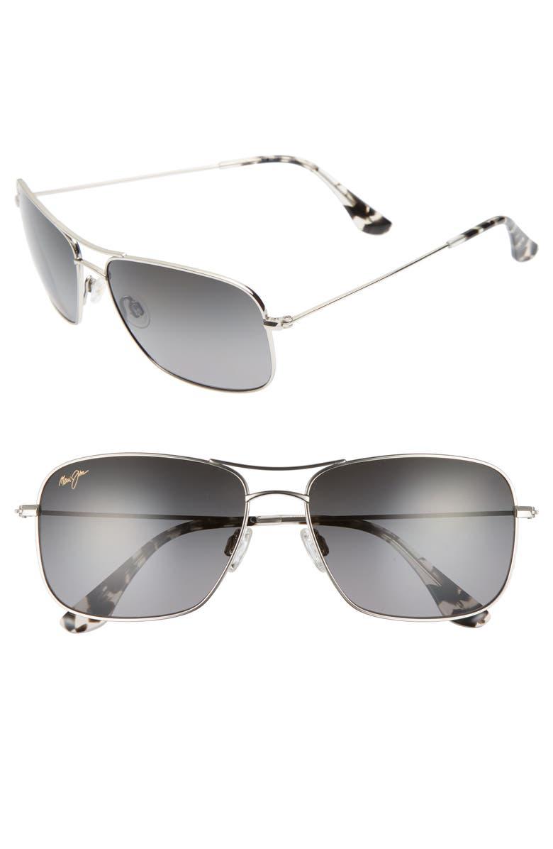 MAUI JIM Wiki Wiki 59mm PolarizedPlus2<sup>®</sup> Aviator Sunglasses, Main, color, SILVER/ NEUTRAL GREY