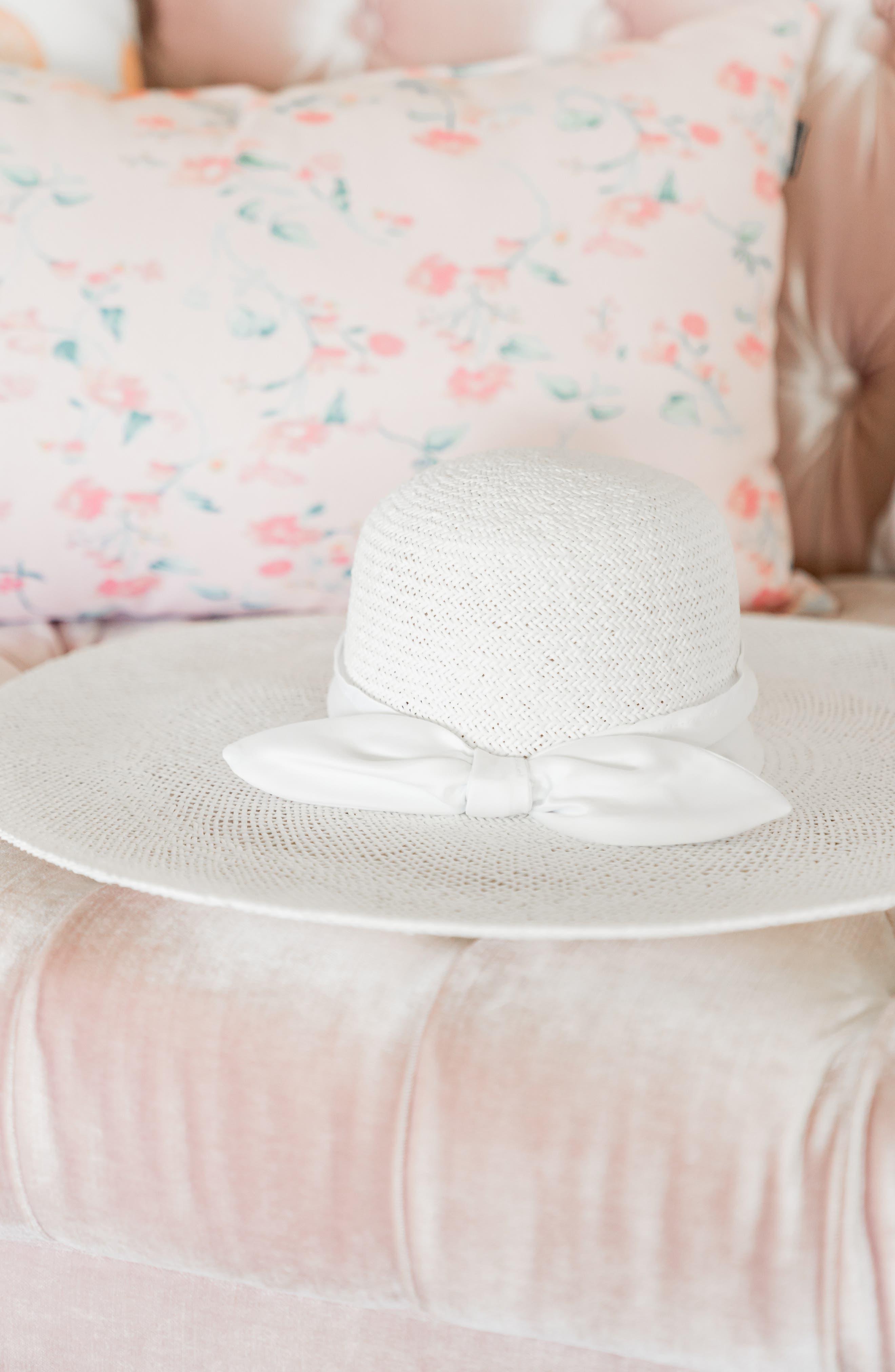 ,                             Large Brim Straw Hat,                             Alternate thumbnail 5, color,                             WHITE COMBO