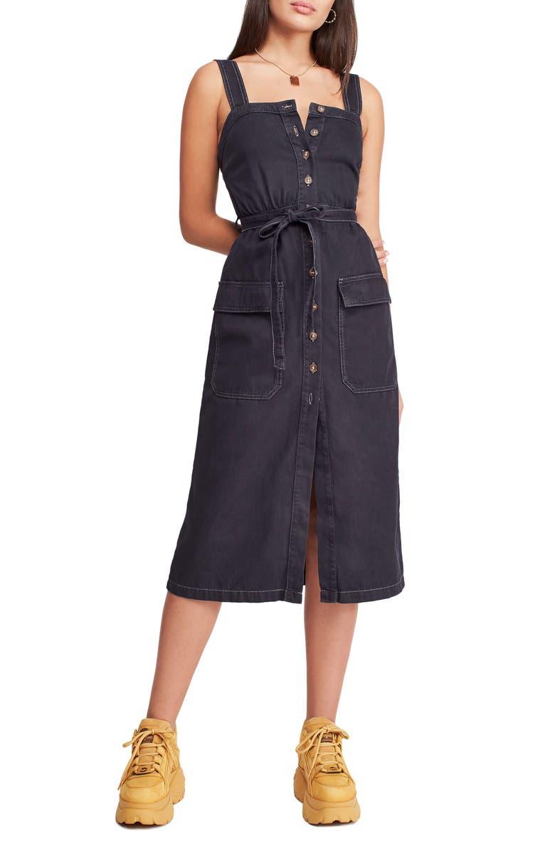 BDG Urban Outfitters Cordelia Twill Midi Dress, Main, color, BLACK