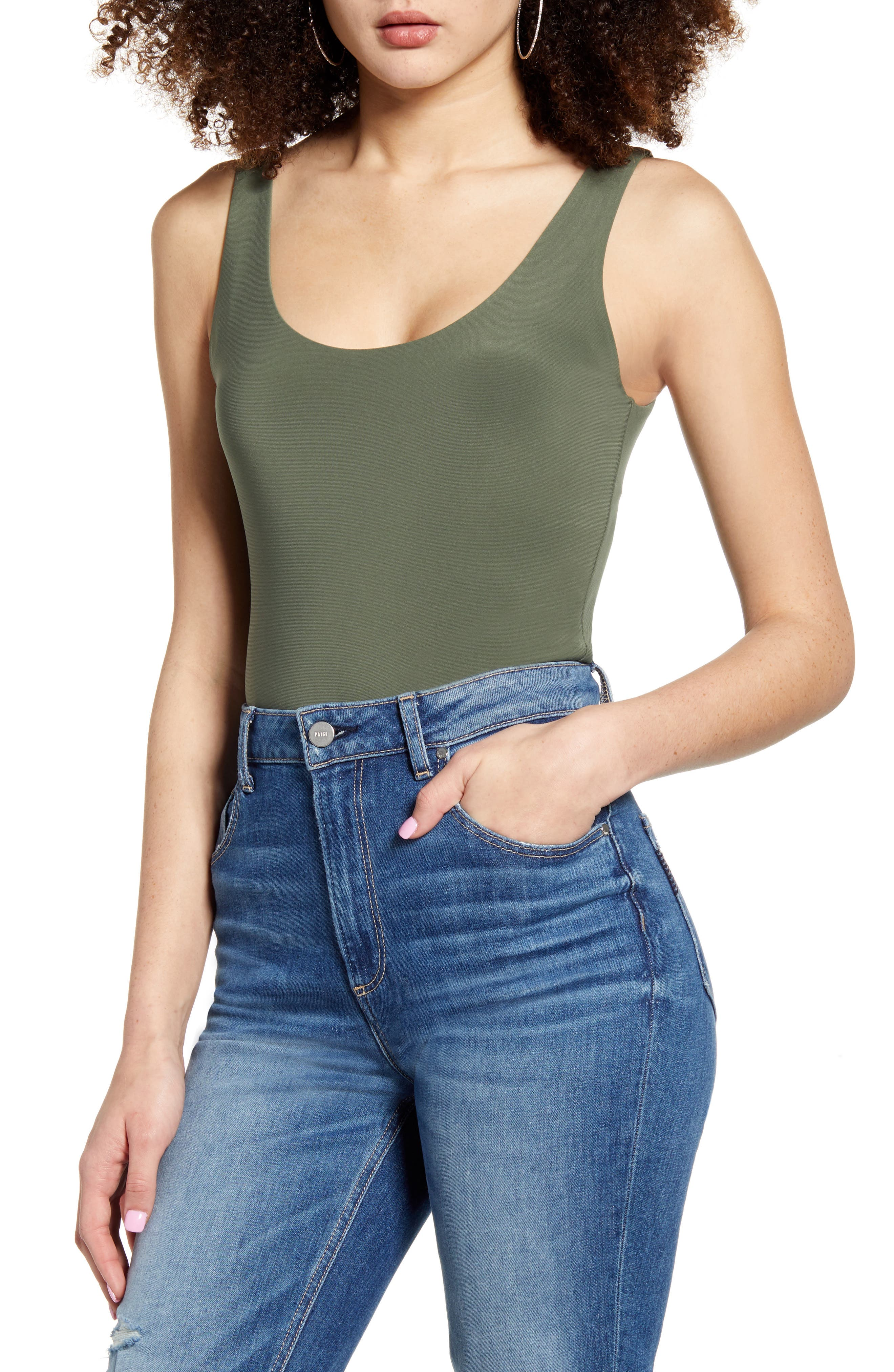 You\\\'ll love to layer in this shapely scoop-neck bodysuit styled with a cheeky back. Style Name: Leith Sleeveless Bodysuit. Style Number: 5942217 1. Available in stores.