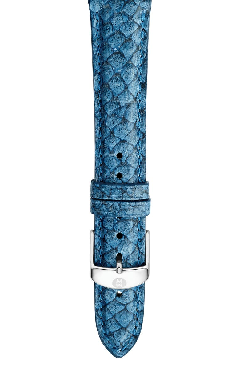 MICHELE 16mm Seamist Blue Fish Skin Watch Strap, Main, color, SEAMIST