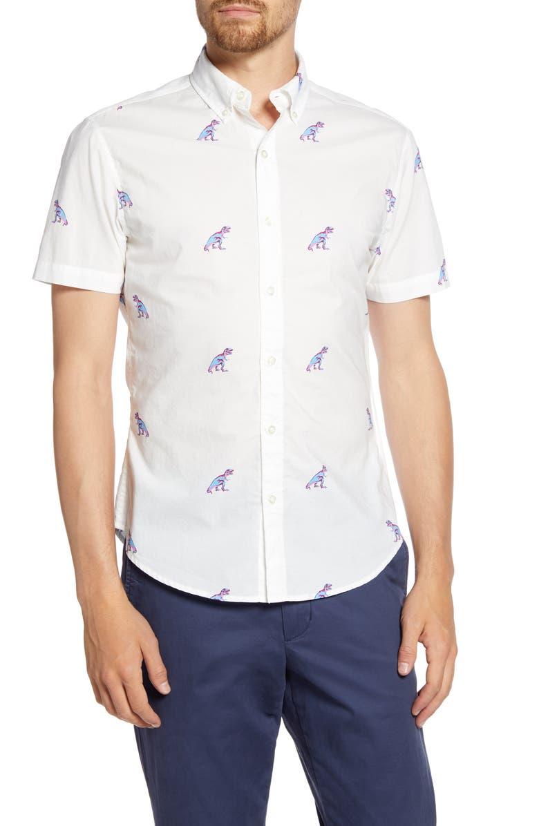 BONOBOS Slim Fit Dinosaur Short Sleeve Button-Down Shirt, Main, color, T REX