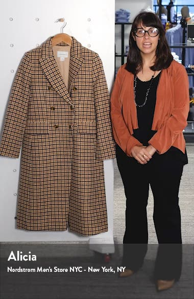Jemma Plaid Double Breasted Wool Blend Coat, sales video thumbnail