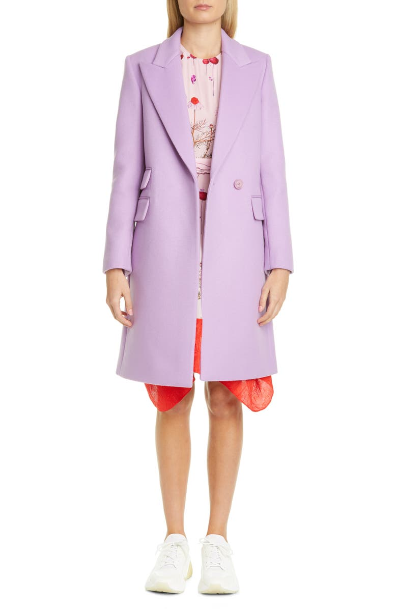 STELLA MCCARTNEY Double Face Wool Reefer Coat, Main, color, LAVENDER