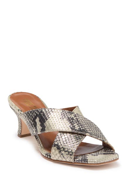 Image of PARIS TEXAS Python Snake Skin Print Embossed Crossover Mule