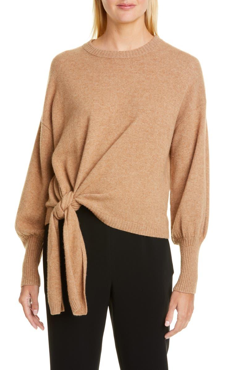 CINQ À SEPT Clerisa Tie Waist Cashmere Sweater, Main, color, 785