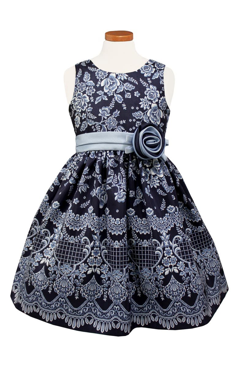 SORBET Floral Print Shantung Dress, Main, color, NAVY