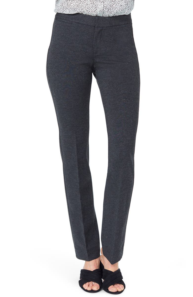 NYDJ Stretch Knit Trousers, Main, color, CHARCOAL HEATHERED