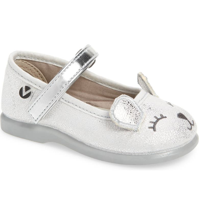 VICTORIA SHOES Alba Mary Jane Flat, Main, color, SILVER