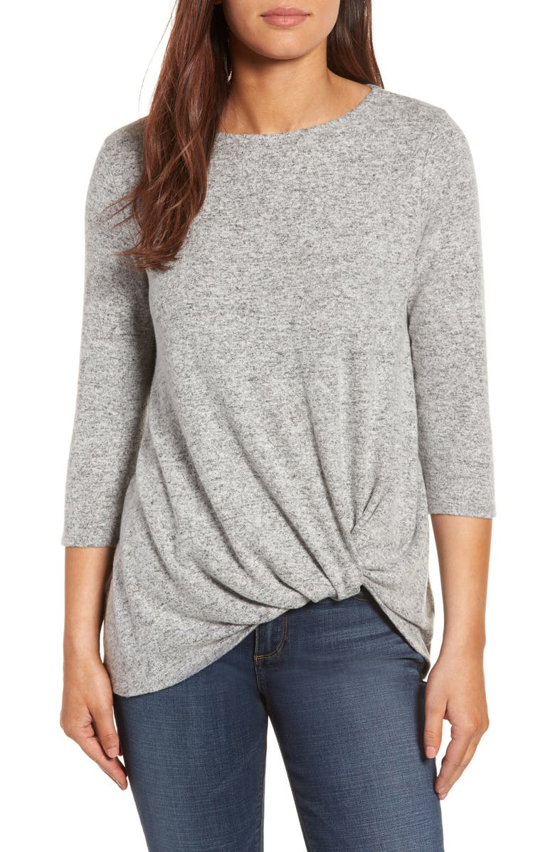 GIBSON Cozy Twist Front Pullover, Main, color, NEW HEATHER GREY