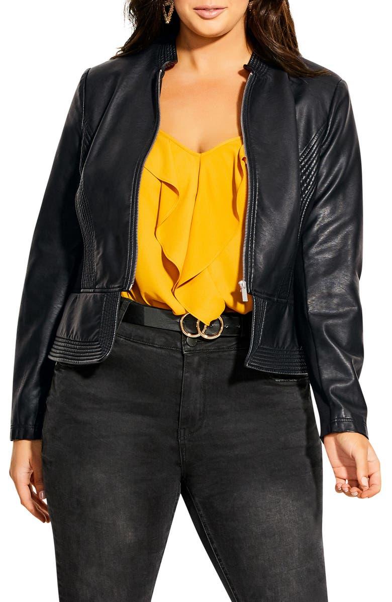 CITY CHIC Outline Faux Leather Jacket, Main, color, BLACK