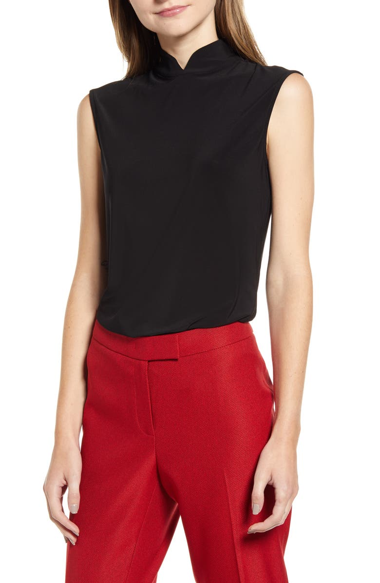 ANNE KLEIN Notch Collar Sleeveless Top, Main, color, ANNE BLACK