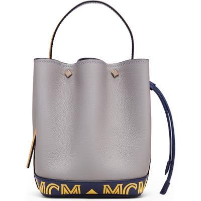 Mcm Mini Milano Logo Leather Bucket Bag - Grey
