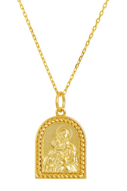 Image of Savvy Cie Two-Tone Religious Medallion Pendant Necklace