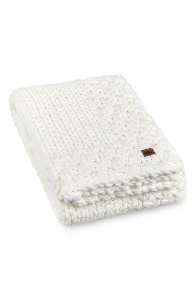 UGG<SUP>®</SUP> Averil Throw Blanket, Main, color, SNOW