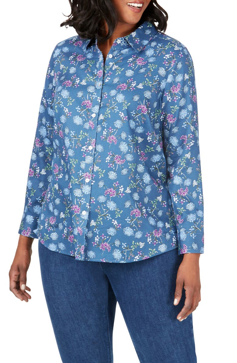 FOXCROFT Ava Floral Print Shirt, Main, color, BLUE JEAN