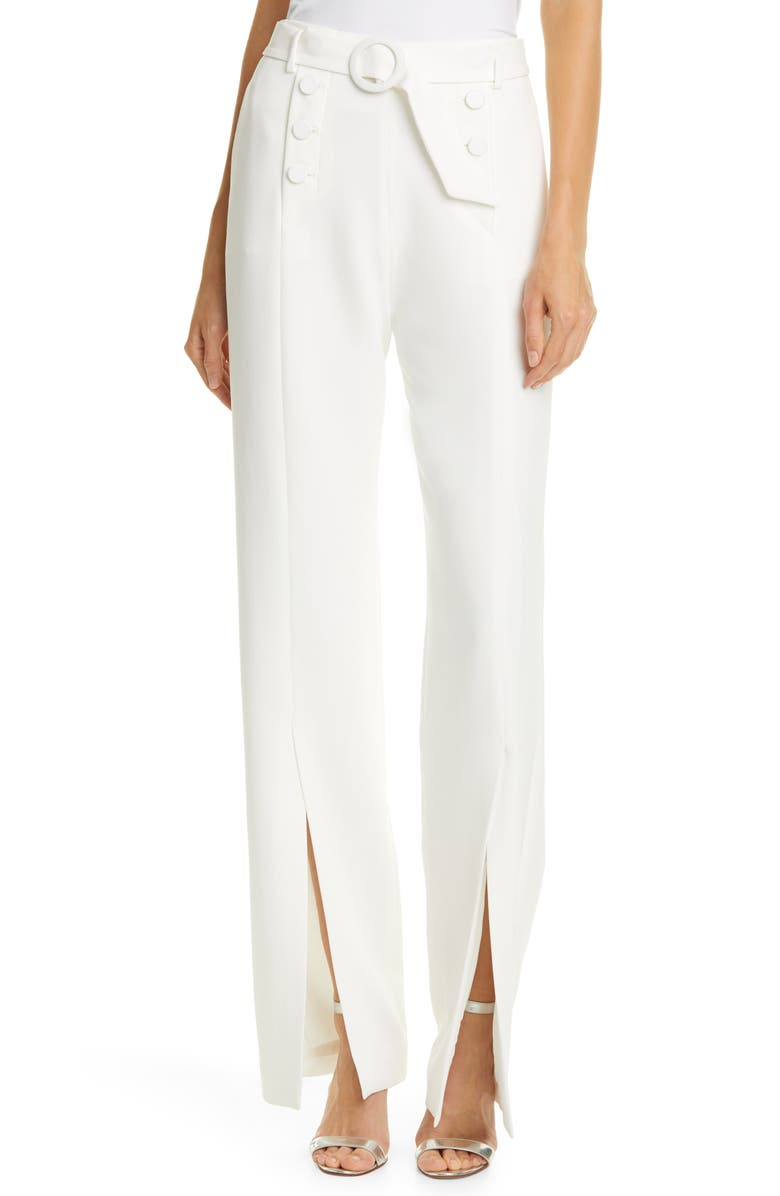 JONATHAN SIMKHAI Slit Front Crepe Sailor Pants, Main, color, WHITE