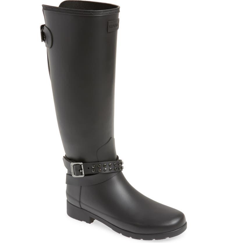 HUNTER Refined Adjustable Back Knee High Waterproof Rain Boot, Main, color, 001