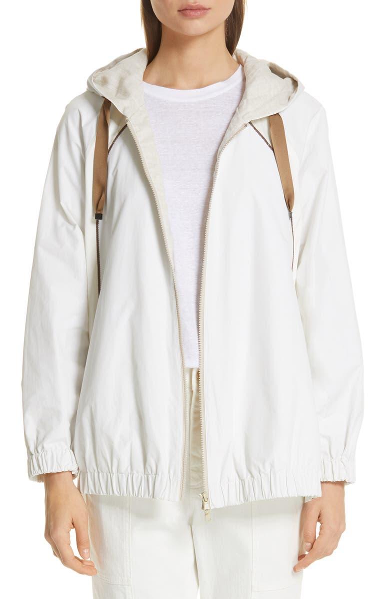 BRUNELLO CUCINELLI Monili & Satin Trim Hooded Taffeta Jacket, Main, color, 100